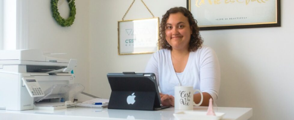 Pascale at the CLV desk